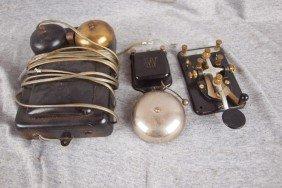 Lot Of 2 Bells And Telegraph Key