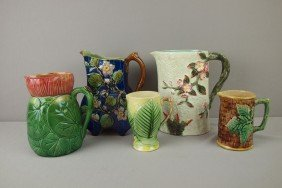 Majolica Lot Of 5 Pitchers, Various Condition
