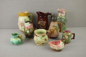 Majolica Lot Of 9 Pitchers, Various Condition