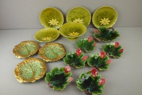 Lot Of 2 German Majolica Dessert Sets And 3 Gold Tr