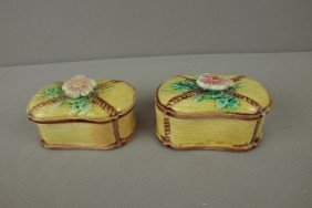 Majolica Pair Of Wild Rose And Rope Match Boxes, Ni