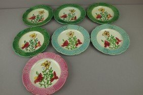 "Lot Of 7-8 1/2"" French Majolica Plates With Flowers"