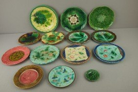 Majolica Lot Of 14 Plates And Butter Pat, Various