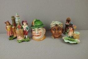 Majolica Lot Of 6 Figural Pieces - 2 Humidors, 2 B