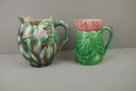 Majolica Lot Of 2 Pitchers, Hairlines
