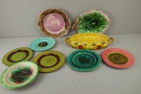 Majolica Lot Of 9 Plates, Platters And Trays, Vari