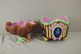 Majolica Shell Comport And Footed Jardiniere, Nice
