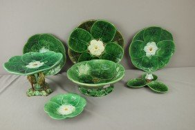 Majolica Lot Of 7 Pond Lily Items - Plates, Compot