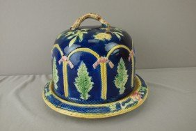 Cobalt Majolica Rope And Fern Cheese Keeper, Top R