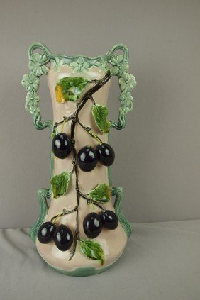 Continental Large Majolica Vase With Fruit, 17""