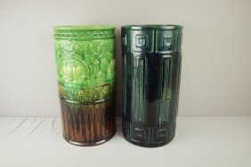 Majolica Lot Of 2 Blended Color Umbrella Stands, 1