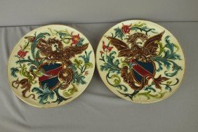 Pair Of French Plates With Dragon And Shield, 12 1