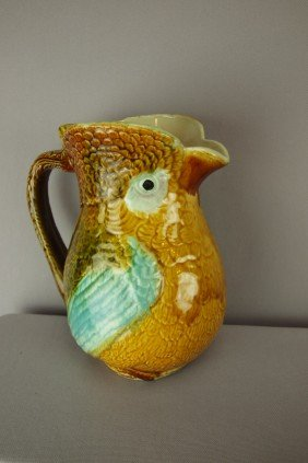 French Majolica Salins Figural Owl Pitcher, 8 1/2""