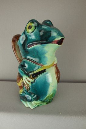 French Majolica Figural Frog With Gun Pitcher With