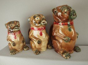 Majolica Set Of 3 Graduated Pug Dog Figural Pitche