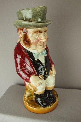 """SARREGUEMINES """"John Bull"""" Figural Pitcher, No. 342"""