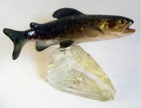 Majolica Figure Of A Salmon Swimming Above Ice, Mo