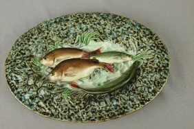Choisy-le-Roi French Palissy Ware Majolica Oval Tr
