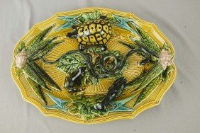 French Palissy Ware Majolica Oval Tray With Yellow