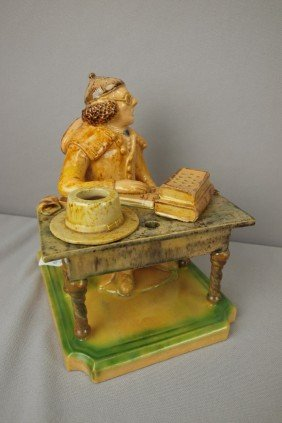 Portugal Majolica Figural Inkwell Or Deskstand In