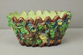 French Palissy Ware Majolica Small Oval Basket Wit