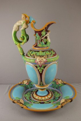 MINTON Rare Monumental Majolica Ewer And Matching