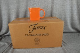 Fiesta Post 86 Tangerine Case Of 12 Square Mugs