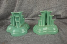 Fiesta Post 86 Sea Mist Green Pyramid Pair Of Candl