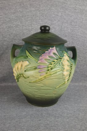 Roseville Green Freesia Cookie Jar, 4-8""