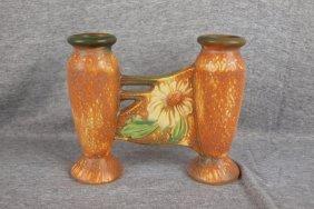 """Roseville Dahlrose Double Bud Vase, 6 1/4"""""""
