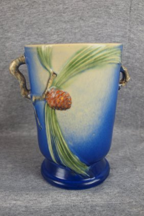 Roseville Blue Pinecone Vase, 7 1/4""