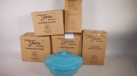 Fiesta Post 86 Turquoise Lot Of 6 Pieces: Teapot,