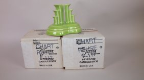 Fiesta Post 86 Chartreuse Pair Of Pyramid Candle