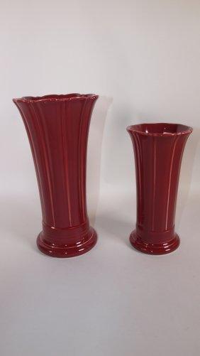 """Fiesta Post 86 Cinnabar 8"""" And Medium Vases, Nib"""