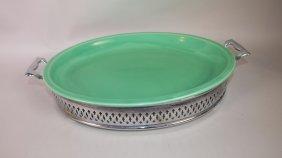 Fiesta Kitchen Kraft Green Platter With Chrome Carrier