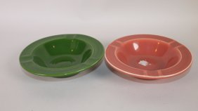 Fiesta Ashtray Group: Dark Green & Rose