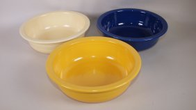 "Fiesta 9 1/2"" Nappy Bowl Group: Cobalt, Ivory, Yellow"