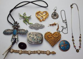 Lot Of Assorted Brooches, Turquoise Bolo Tie, Necklace,