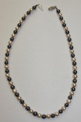 Balck And Cream Pearl Necklace With Silver Clasp