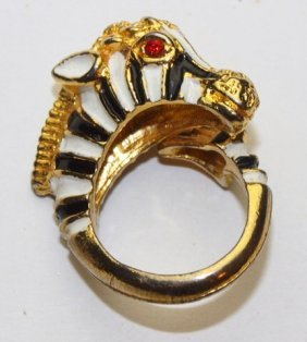 Enamel Zebra Ring With Ruby Eyes