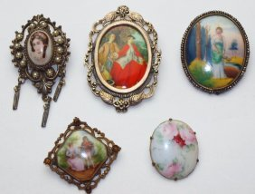 Lot Of 5 Porcelain Brooch Pins