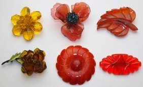 Bakelite And Bakelite Style Lot Of 6 Brooch Pins