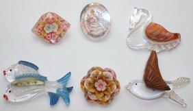 Lot Of 6 Clear Acrylic Brooch Pins: Fish, Bird, Swan,