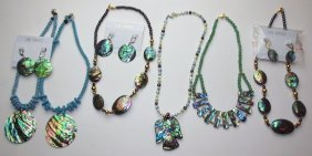 Lee Sands Lot Of Mop Or Abalone Jewelry 40