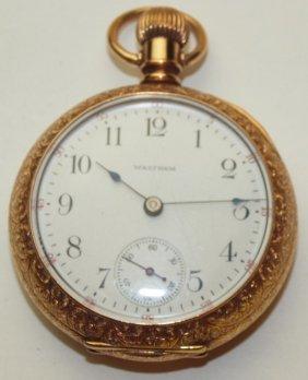 Waltham O.f. Pocket Watch, Tri-colr Case With Stag