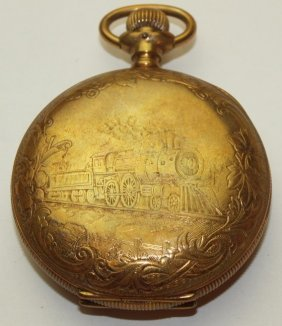 Illinois Hunters Case Pocket Watch With Engraved Train