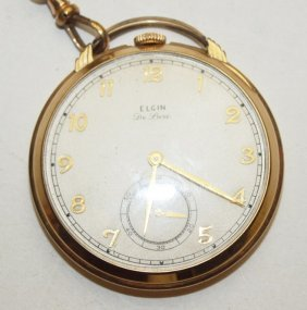 Elgin Deluxe Open Face Pocket Watch With Chain