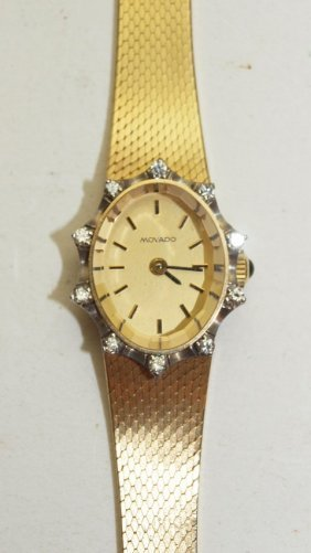 Movado 14k Yellow Gold Ladies Wrist Watch With 10