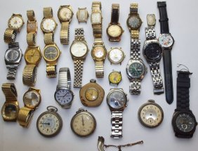 Lot Of 28 Watches: Bulova, Gruen, Benrus, Fossil,