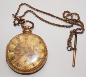 Levi Scribner Open Face Pocket Watch, Key Wind With